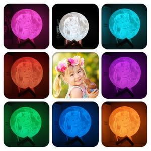Image 2 - 写真/テキストカスタム 3D 印刷ムーンランプ夜の光カスタマイズされたパーソナライズされた月面 usb 充電式ランプタッチ/タップ/リモートスイッチ