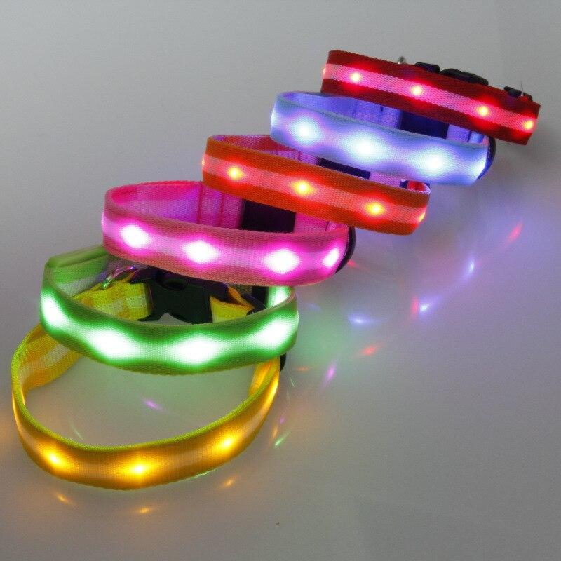 Good Brand 2.5 Cm Stripes Light Belt LED Shining Light Belt Dog Neck Ring Pet Lamp Beads Neck Ring 6-Color