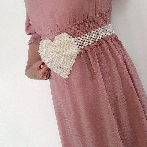 Forma de Pérola Bolsa de Amor Artesanal com Contas Coração-em Artesanal Coração Bolsa Pequenos Bolsos Ins