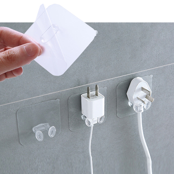 1pc Transparent Socket Hook Self Adhesive Wall Mounted Heavy Load Plug Holder Punch-free Stealth Bathroom Kitchen Hanging Rack image