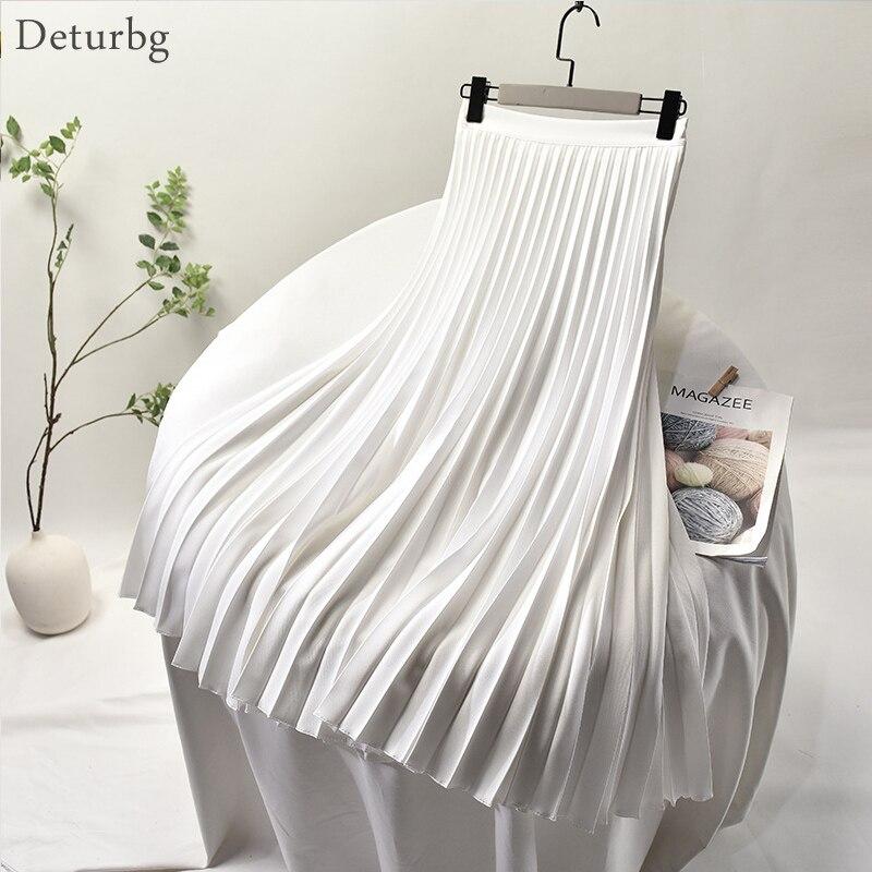 Women's Elegant Sector Pleated Twill Skirt With Chiffon Liner Female High Waist Side Zipper White Long Skirts 2020 Spring SK521