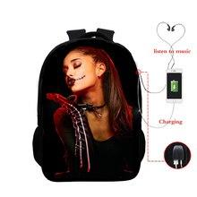 Ariana Grande USB Charging School Backpack Cartoon Graphic School Bag Ariana Grande 3d Printed Schoolbag for Teenager Boys Girl