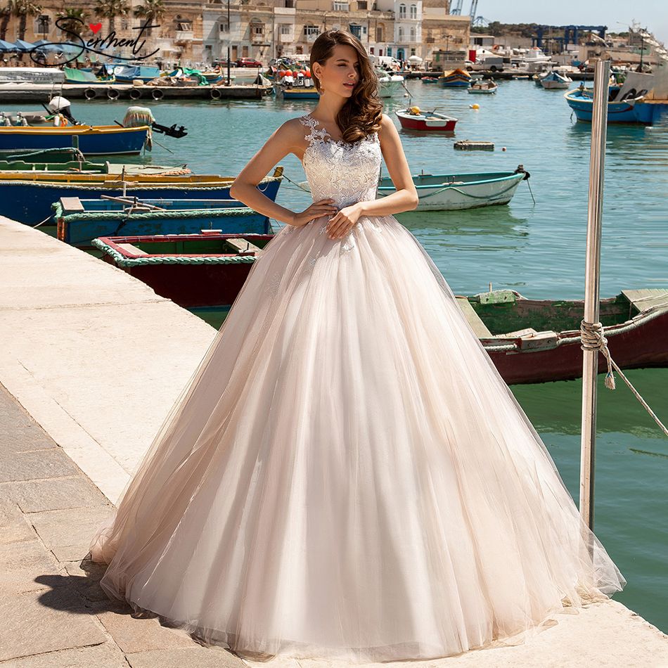 OLLYMURS 2020 Luxury Wedding Dress Dreamy Sleeveless Lace Applique Wedding Turtleneck Backless Luxury Beads Support Tailor-made