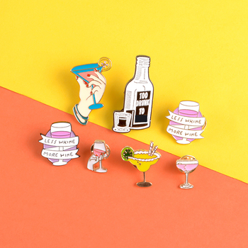 Wine bottle enamel pin Not going home tonight badge brooch for women Goblet cocktail Lapel pin Clothes bag jewelry gift friends image