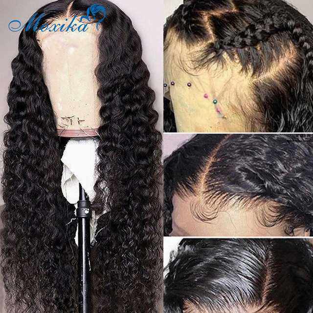 Deep Wave Closure Wig Human Hair Lace Frontal Wigs 180 Lace Front Wig Pre Plucked Bleached Knots Wigs Remy 4x4 Frontal Lace Wig 3