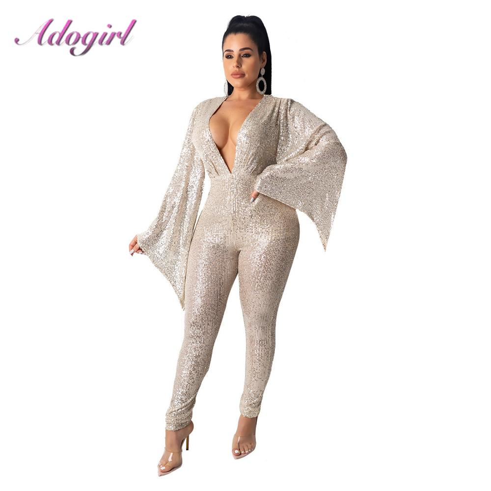 Women Outfit Jumpsuit  Sexy Sequins Flare Sleeve Bodycon Jumpsuit Autumn V Neck Bandage Party Club Rompers Streetwear Overalls