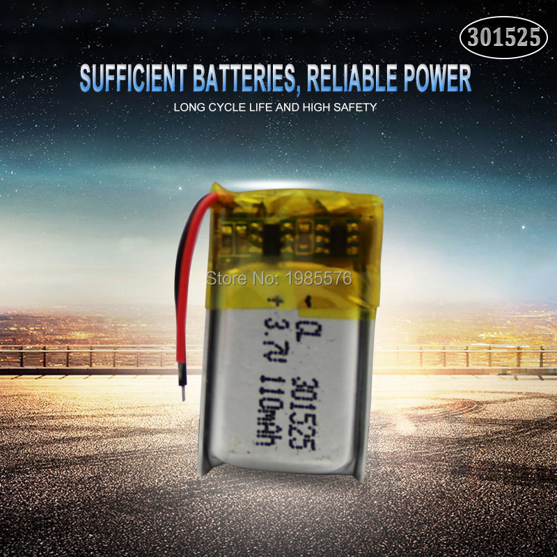 3.7V 110mAh <font><b>301525</b></font> ithium polymer battery for GPS PSP MP3 MP4 MP5 DVD small toys battery Bluetooth headset Li-ion Cell battery image