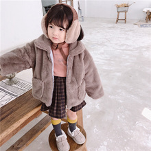 New winter Korean style personality cute rabbit fur warm jacket outerwear for girls