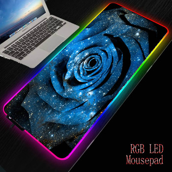 MRGBEST Blue Rose Flower Gaming Mouse Pad Large RGB Computer Mause Pad Gamer Keyboard Mause Carpet Desk Mat PC Game Mouse Pad mrgbest anime bleach computer mouse pad gaming mousepad large mouse pad gamer xxl mause carpet pc desk mat keyboard pad