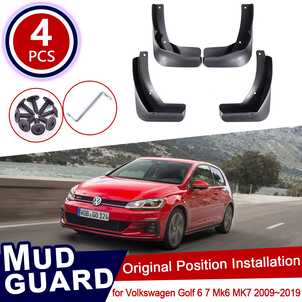 for Volkswagen VW <font><b>Golf</b></font> <font><b>6</b></font> 7 Mk6 MK7 2009~2019 Car Mud Flaps Mudguard Splash Guards Fender Mudflaps 2013 2014 2015 2016 2017 2018 image