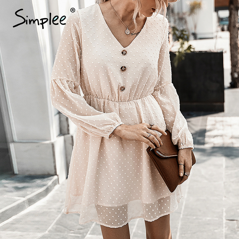 Simplee Sexy V-neck Buttons Women Summer Dress Elegant Dot Print Lantern Sleeve Female Short Sundress Summer Ladies Mini Dress