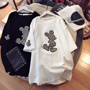 Women Korean Cartoon T Shirt Cotton Short Sleeve Oversize T-shirt Mickey Loose Casual Round Collar Harajuku Summer Shirts Female
