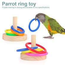 Nowy drewniany ptak papuga platforma plastikowy pierścień inteligencja trening gryzak zabawka ptak dostarcza zwierzę rozwijać inteligencję zabawka ptak