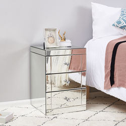 Gran venta de mesita de noche con espejo en existencias en España, muebles de dormitorio, mesita de noche, panel de cristal roto sustituido, entrega rápida