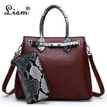 Роскошная женская сумка высокого качества, Классическая сумка с крокодиловым узором, брендовая дизайнерская Большая вместительная сумка через плечо