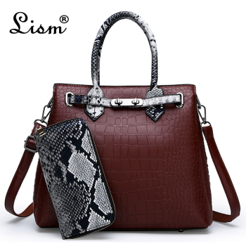 Women\'s bag luxury brand designer high quality classic crocodile pattern handbag
