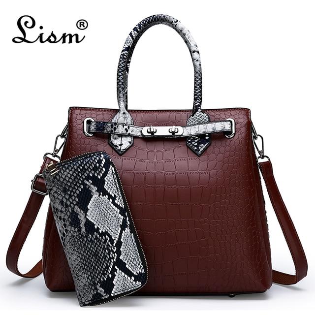 Women\'s bag luxury brand designer high quality classic crocodile pattern handbag