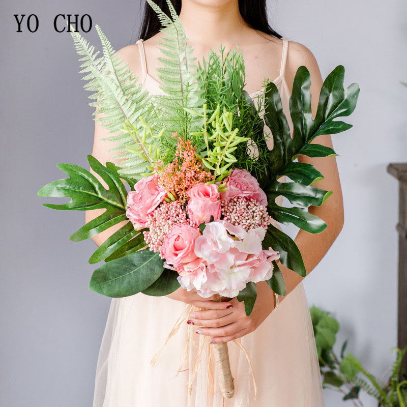 YO CHO Bride Wedding Bouquet Photography Wedding Supplies Artificial Silk Rose Hydrangea Flower Cycas Bouquet Green Forest Style
