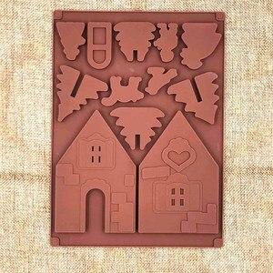 Image 4 - 2 יח\סט 3D חג המולד Gingerbread בית סיליקון עובש שוקולד עוגת עובש מטבח DIY ביסקוויטים עוגת אפיית כלים 22x16cm
