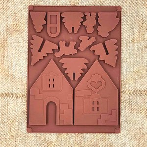 Image 4 - 2 Pcs/Set 3D Christmas Gingerbread House Silicone Mold Chocolate Cake Mould Kitchen DIY Biscuits Cake Baking Tools 22x16cm