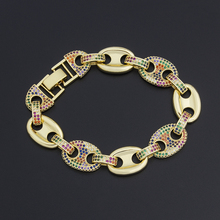 New Design Chain Bracelets & Bangles Gold Color Micro Pave CZ Rainbow Wristband Jewelry For Women Girls Party Wedding Gift