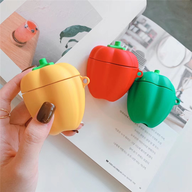 3D Cute Vegetables Capsicum Headphone Case For Apple Airpods 1/2 Cover Silicone Bluetooth Earphone Accessories