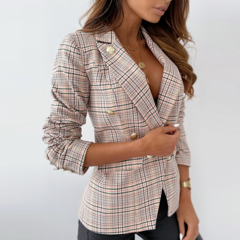 Blazer Jacket Women Plaid Notched Collar Slim Double Breasted Casual Female Suits Coat Autumn 2020 Mujer Business Retro Elegant