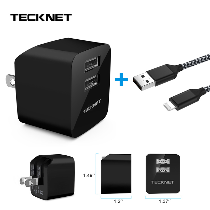 TeckNet 10.5W USB Charger Adapter For iPhone 6s 7 8 xiaomi huawei US Plug Foldable 2 Ports Portable Wall Mobile Charger