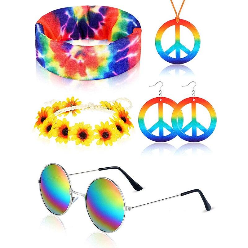 Hippie Sunglasses Peace Sign Pendant Earrings Rainbow Hood 60 or 70/'s Hippie Dre
