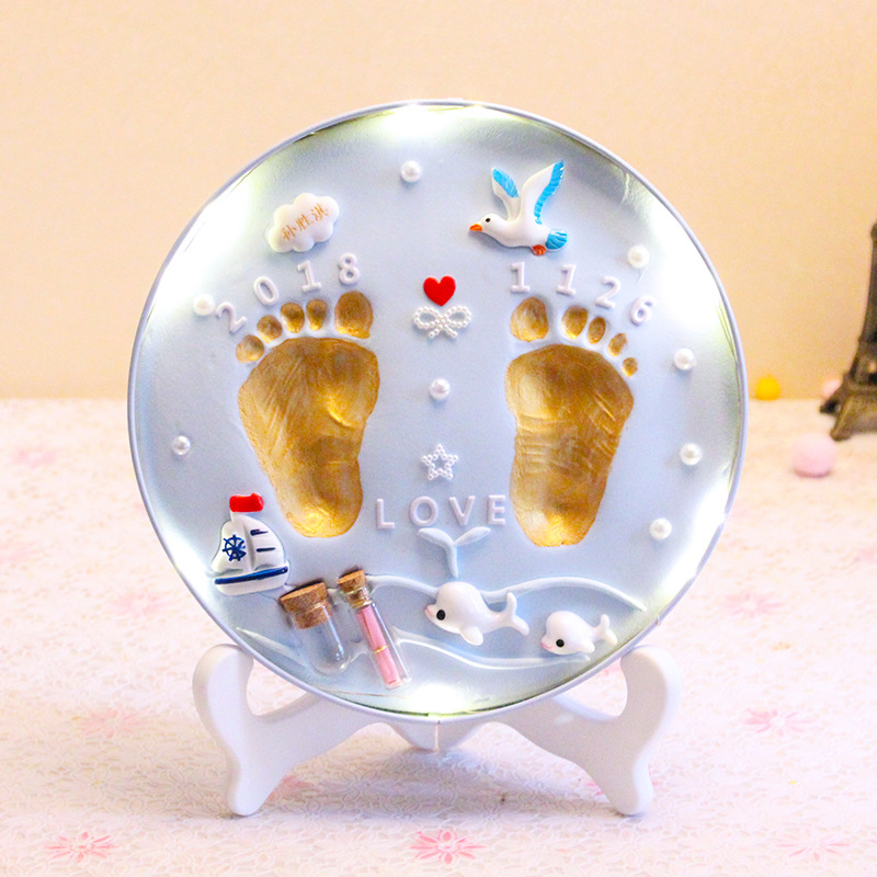 Light Slime Handprint Footprints Colored Clay Souvenir Newborn Baby Souvenirs Plasticine Modeling Clay Hand Foot Diy Baby Gift