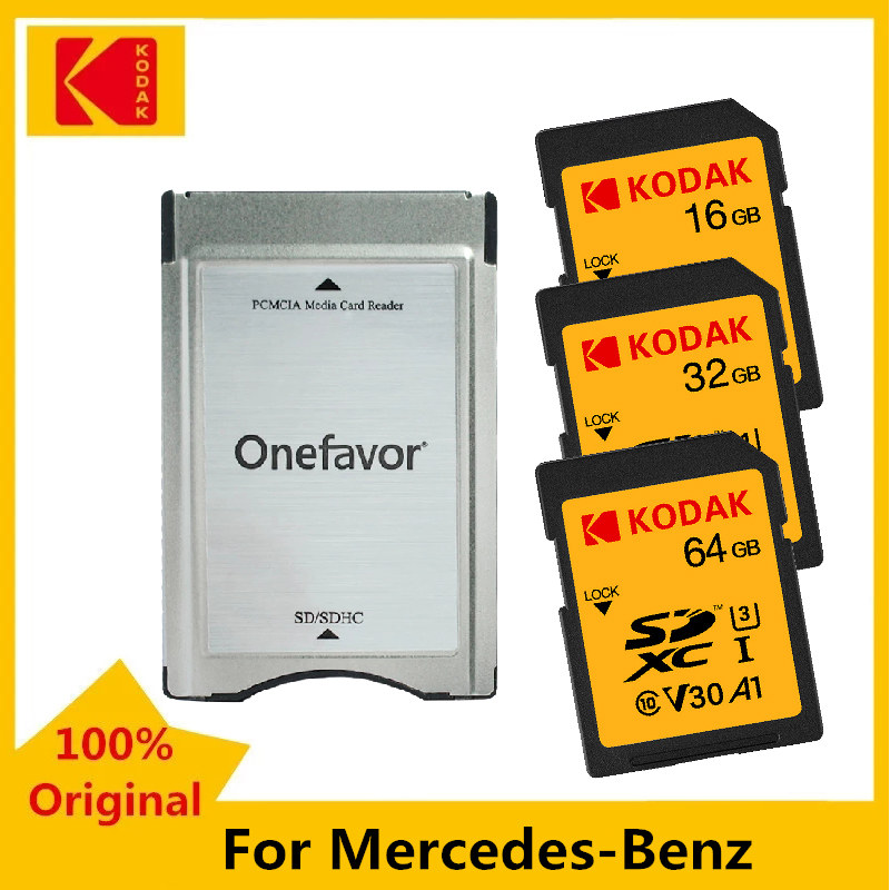 Kodak SD Card 16GB 32GB 64GB Memory Card 80MB/s U1 100MB/s U3 V30 With PC Adapter Converter for Mercedes Benz