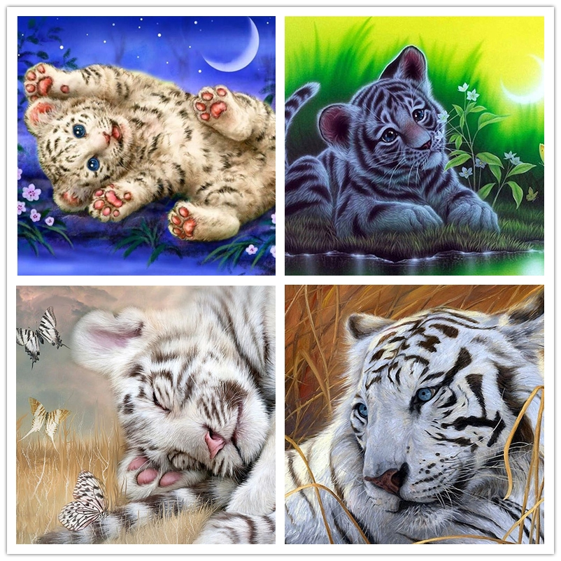 5d Diy Diamond Painting Tiger Butterfly Square Diamond Embroidery Lovely Animal