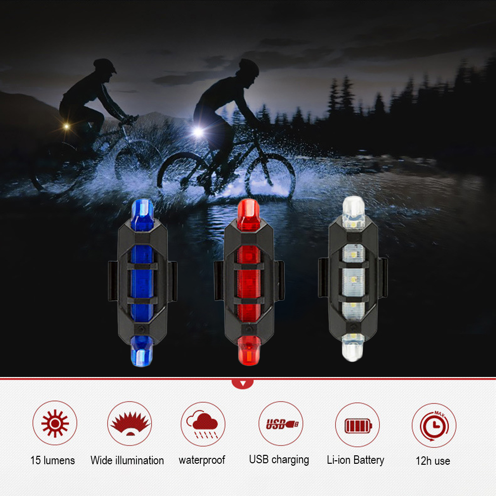 3 Modes Portable USB Charging Bicycle Warning Tail Light Cycling Led BikeRear Safety Warning Light Taillight Lamp Super Bright