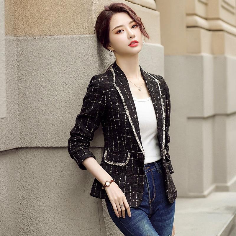 High-quality professional women's temperament suit jacket 2020 new autumn and winter women's plaid ladies blazer Elegant jacket