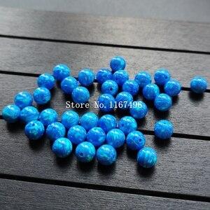 Image 3 - 100 יח\חבילה 6mm סינטטי עגול כדור אופל חרוזים כחול עגול אופל אבן מחיר עבור צמיד & שרשרת