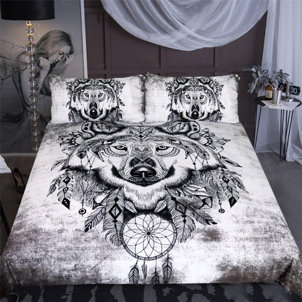 Loup Couple ensembles de literie Cool gris amoureux loup housse de couette ensemble 3D housse de couette double reine roi