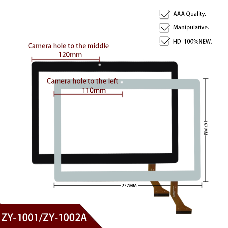 For 10.1'' Inch ZY-1002A ZY-1001 Tablet PC Front Outter Touch Screen Panel Digitizer Sensor Glass Replacement Phablet Multitouch