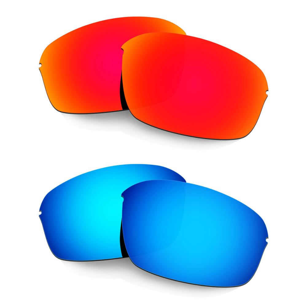 HKUCO For Half Wire 2.0 Sunglasses Polarized Replacement Lenses 2 Pairs Red & Blue