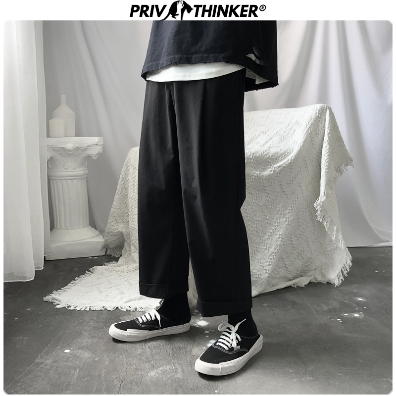 Privathinker Men Japan Design Black Solid Joggers 2020 Mens Loose Ankle-length Pants Male Fashion Hip Hop Stright Pants Clothing