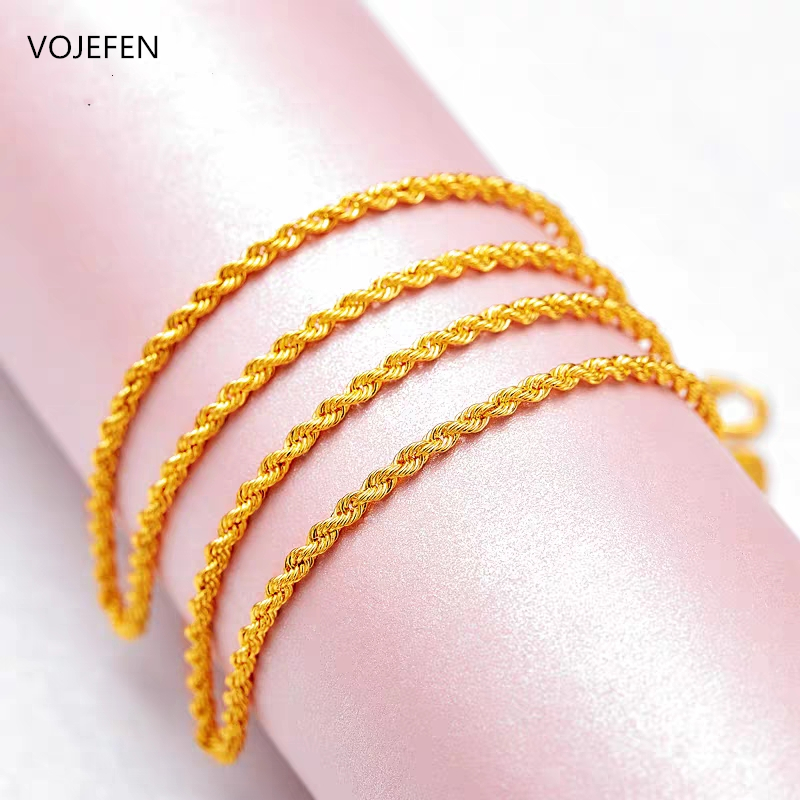 VOJEFEN Fine Jewelry 18K Real Gold Rope Chain Jewelry Necklace for Men and Women- Braided Twist Chain Necklace AU750 4