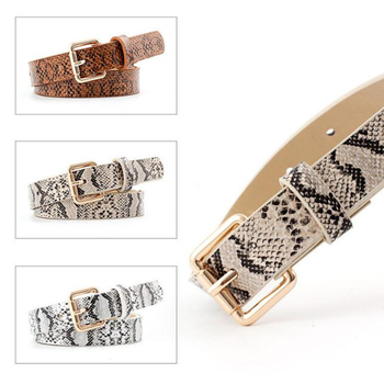 Women Belts Pu Leather Snakeskin Square Metal Buckle Stretch Elastic Waistband Fahion Ladies Waist Belt Accessories Cinto D40