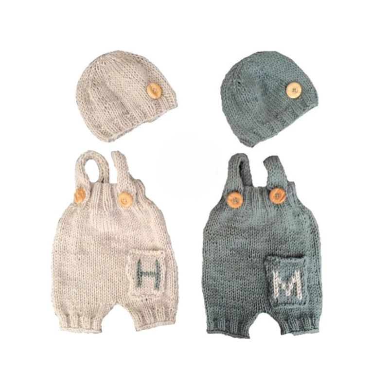 2pcs/Set Newborn Photography Props Baby Boy Accessories Bebes Photoshoot Prop Infantil Costume Clothing Hand Knitted Hat Clothes