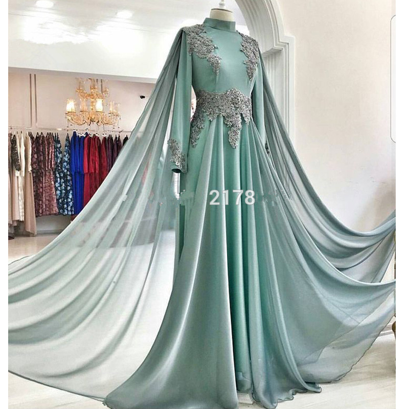 Mint 2019 Muslim   Evening     Dresses   A-line Long Sleeves Chiffon Appliques Beaded Dubai Abaya Saudi Arabic Long   Evening   Gown Prom