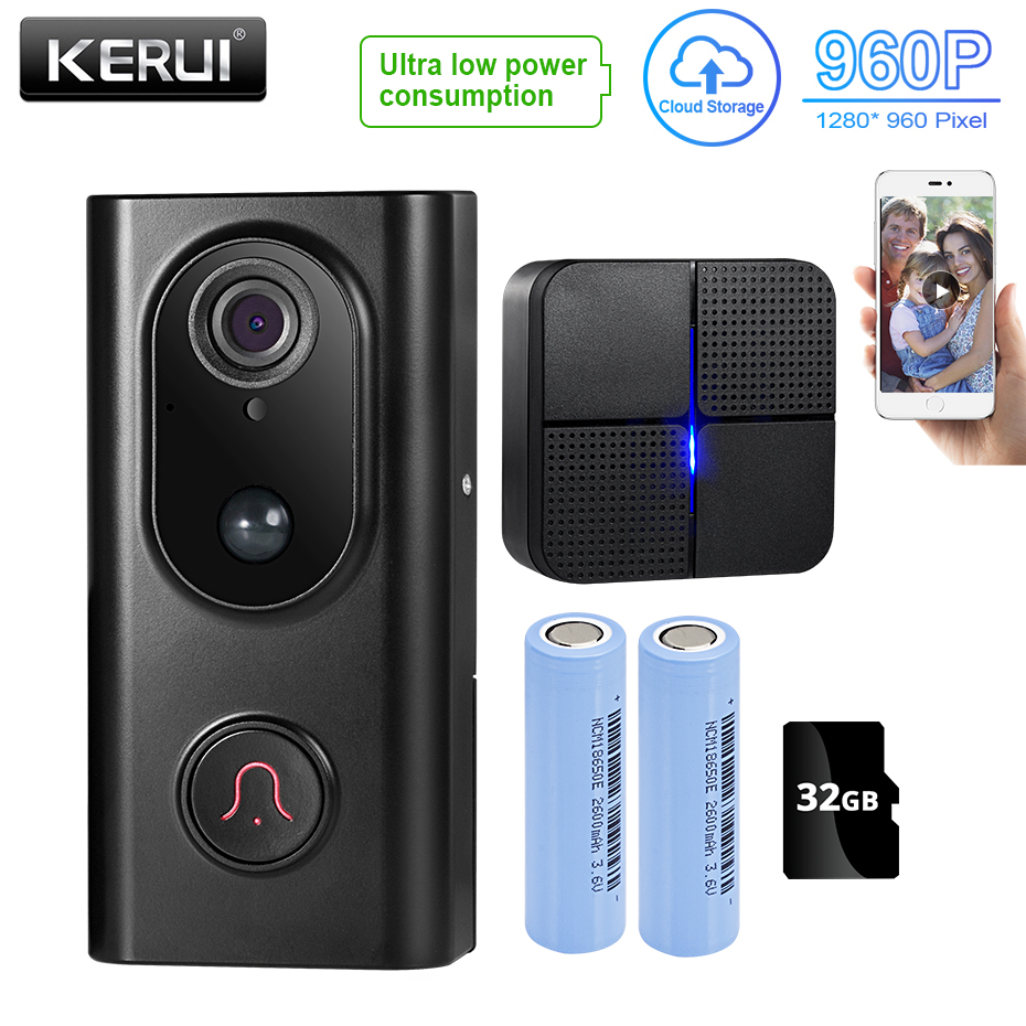 KERUI L16 Smart WiFi Video Doorbell Camera Door Bell Wireless Video Doorbell Two-way Audio APP Control Visible Intercom System
