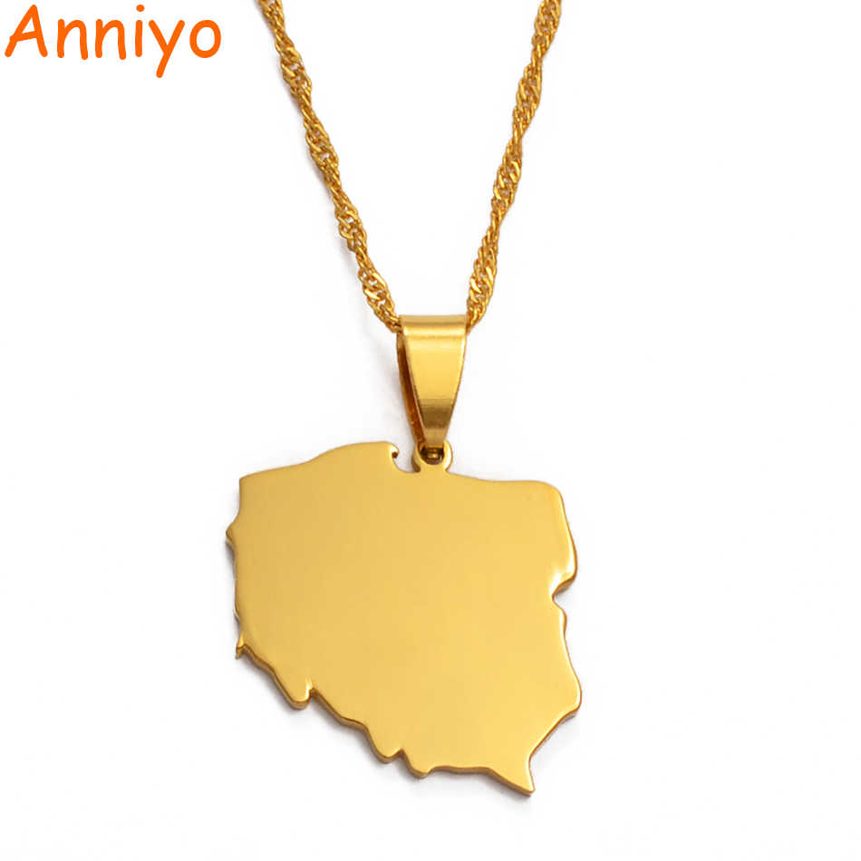 Anniyo Polska Map Pendant Necklaces for Women Jewelry Maps of Poland Chain  #021221