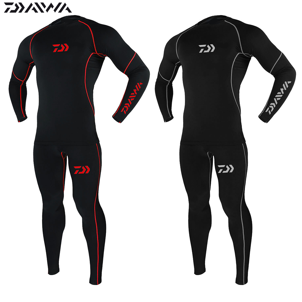 Autumn And Winter  DAWA Fishing Underwear Plus Velvet Thicken Keep Warm Breathable Tight Anti Static Fishing Clothing