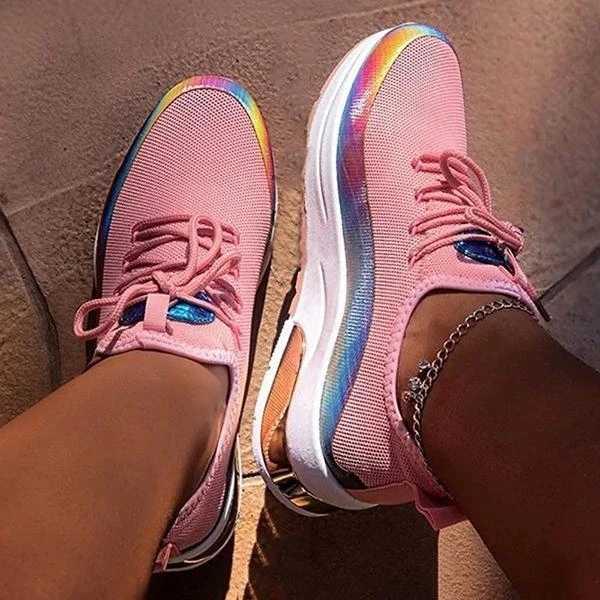 Puimentiua Giày Nữ Giày Lưới Air-Cushion Phẳng Chống Trơn Trượt Giày Thể Thao Ngoài Trời Chạy Bộ Huấn Luyện Nữ Lưu Hóa Giày