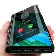 Espelho de visão inteligente flip caso capa do telefone para huawei honer honra 20e xonor 20 e e20 6.21 stand ficar caso em honor20e coque fundas
