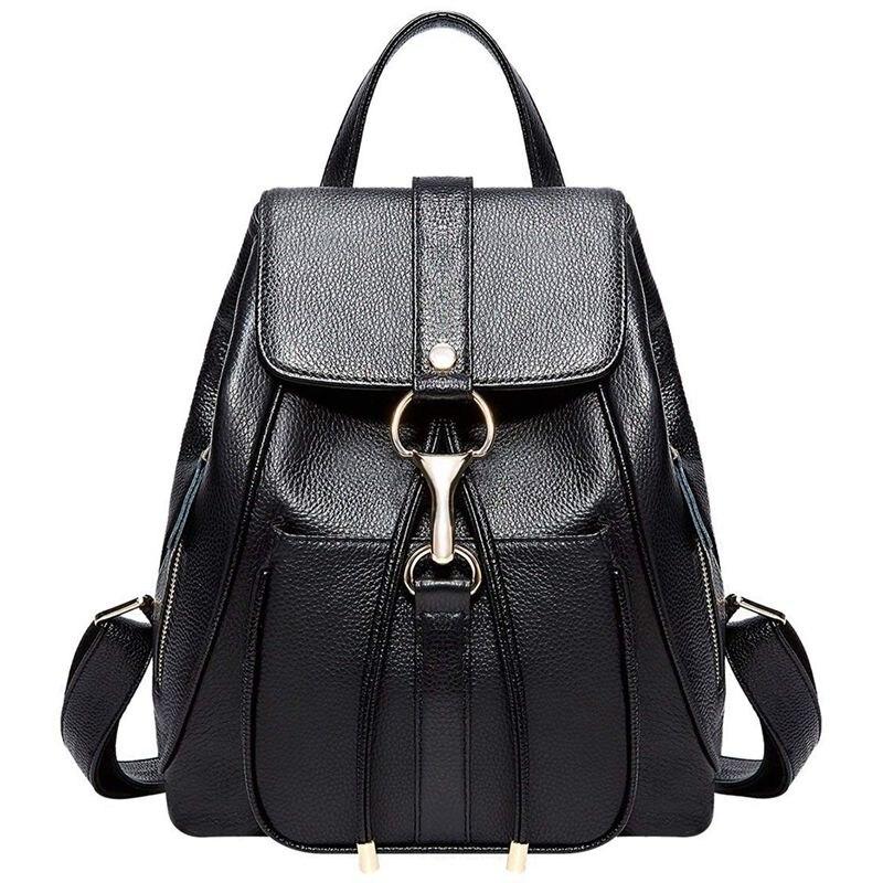Abdb-cuir sacs à dos sac à main pour femmes dames mode voyage sac à bandoulière (noir)