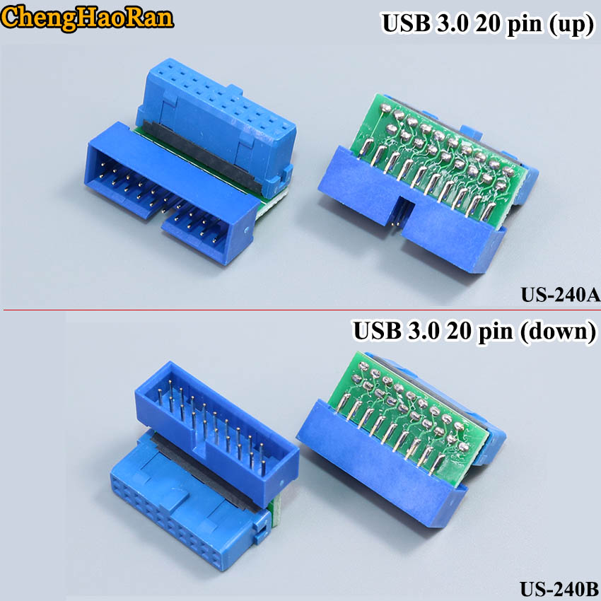 ChengHaoRan 1pcs USB 3.0 20-pin Female Connector Wire-type Up-down Motherboard Right-angle Converter Steering Head 90 Degrees